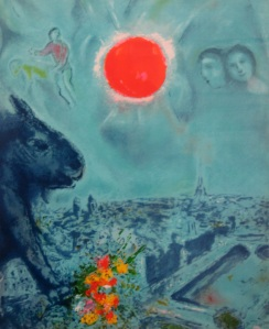 Chagall Red Sun Over Paris