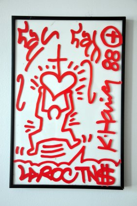 Well's pretty baby, a 1988 Keith Haring, 14 x 9 inches, oil on glass