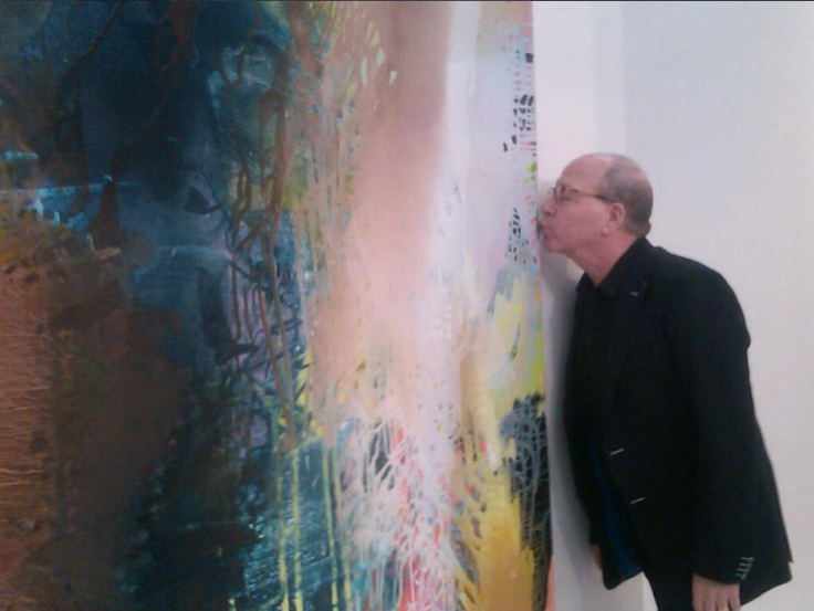 Best of the Richterites: Jerry Saltz Macs on Jackie Saccoccio;s Lush Mica at the Eleven Rivington Booth at the Armory Show. The paintins is Portrait(Hermetic), 2012 oil and mica on linen. Photo courtesy of Jackie Saccoccio.