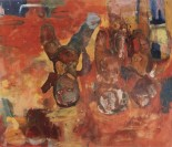 Erika Ranee Cosby's Hanging Out to Dry, 1991 Shellac, oil, charcoal, pencil on canvas 183.3 x 212.8 cm (72 1/8 x 83 3/4 in.) Collection of Camille O. and William H. Cosby Jr. Photograph by Frank Stewart, permission courtesy of the artist via the National Museum of African Art website